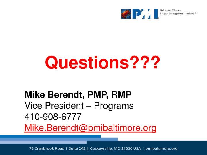 Mike Berendt, PMP, RMP