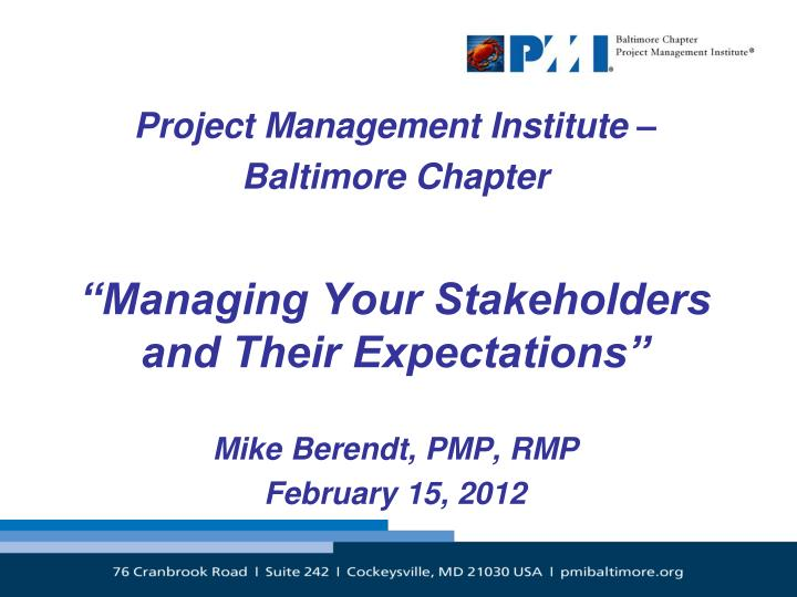 Project Management Institute –
