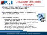 unavailable stakeholder strategies