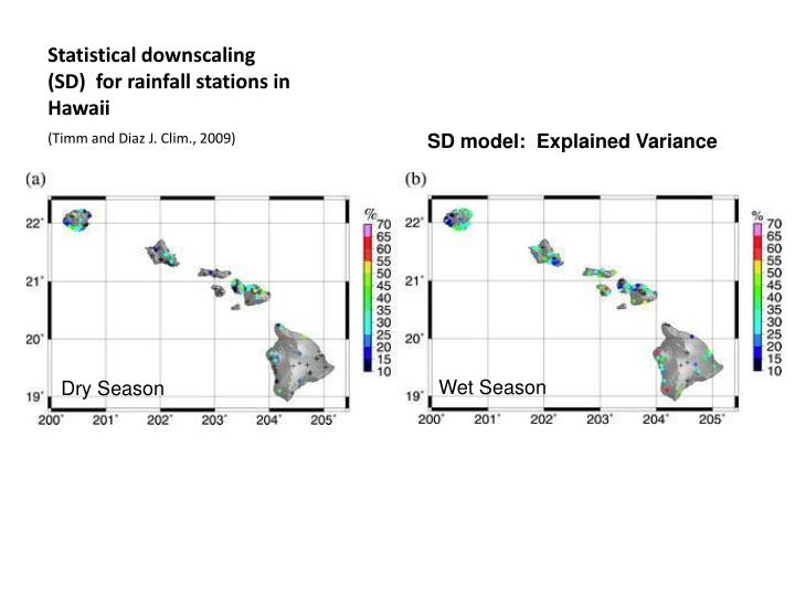 Statistical downscaling (SD)  for rainfall stations in Hawaii
