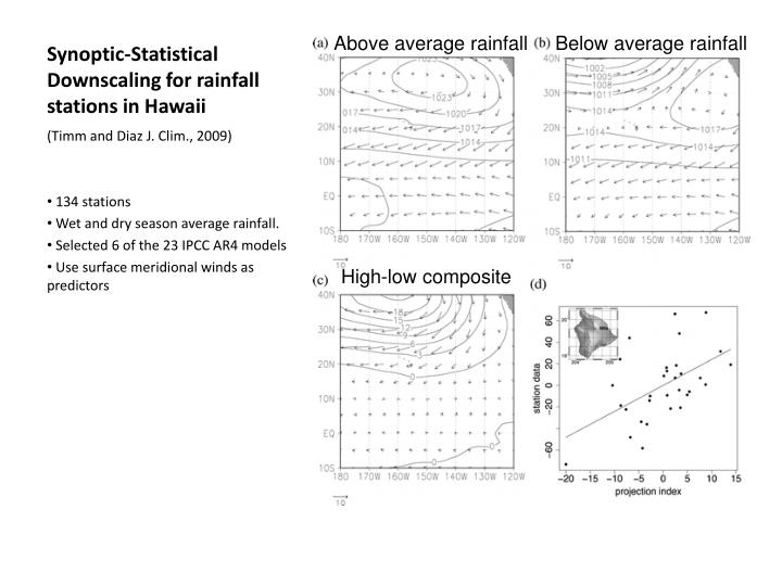 Synoptic-Statistical Downscaling for rainfall stations in Hawaii