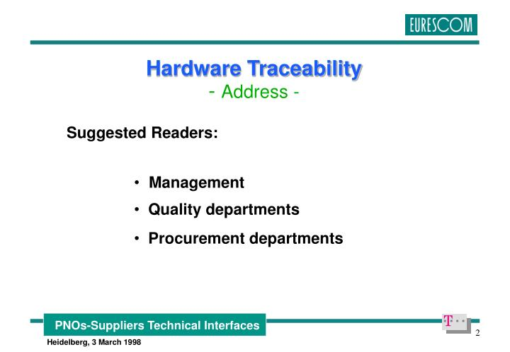 Hardware traceability address
