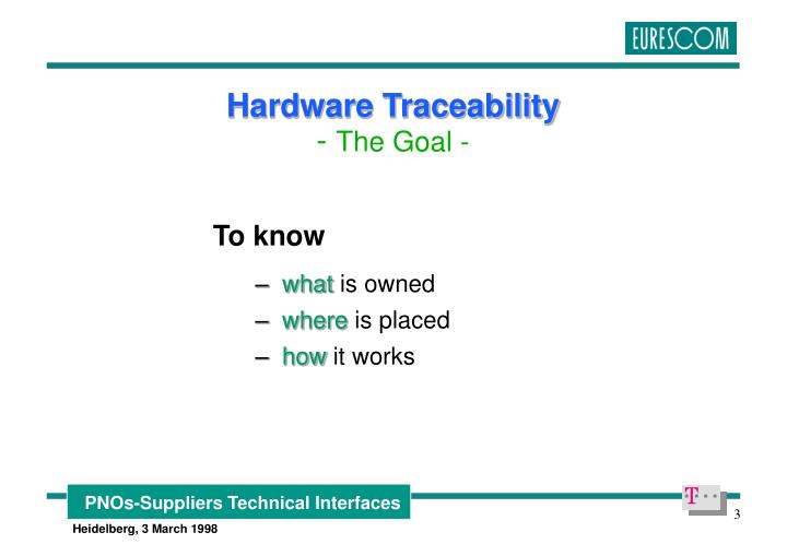 Hardware traceability the goal