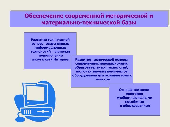 Обеспечение современной методической и материально-технической базы