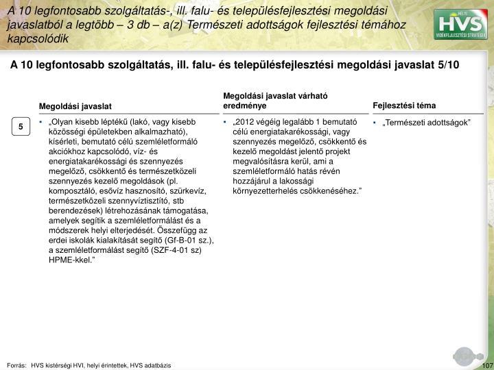 A 10 legfontosabb szolgáltatás, ill. falu- és településfejlesztési megoldási javaslat 5/10