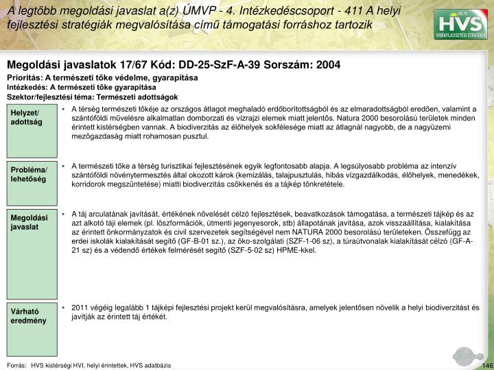 Megoldási javaslatok 17/67 Kód: DD-25-SzF-A-39 Sorszám: 2004