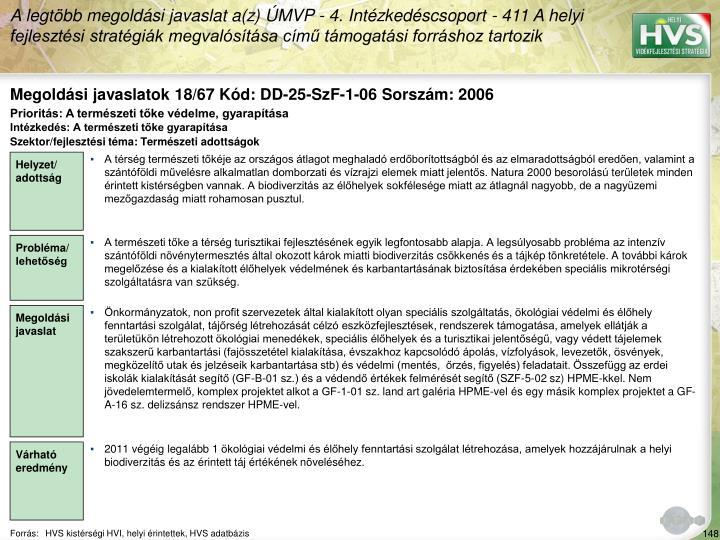 Megoldási javaslatok 18/67 Kód: DD-25-SzF-1-06 Sorszám: 2006