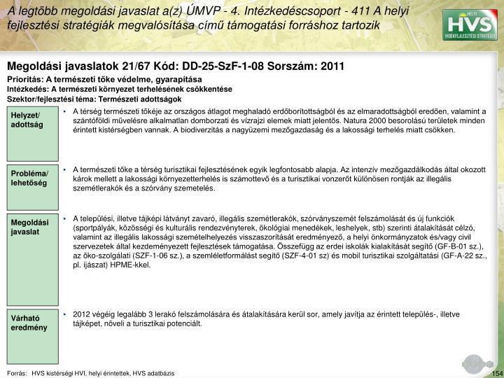 Megoldási javaslatok 21/67 Kód: DD-25-SzF-1-08 Sorszám: 2011