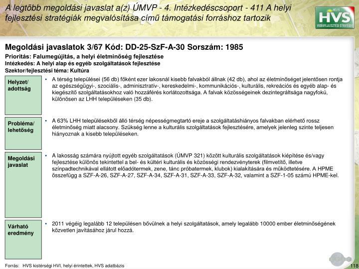 Megoldási javaslatok 3/67 Kód: DD-25-SzF-A-30 Sorszám: 1985