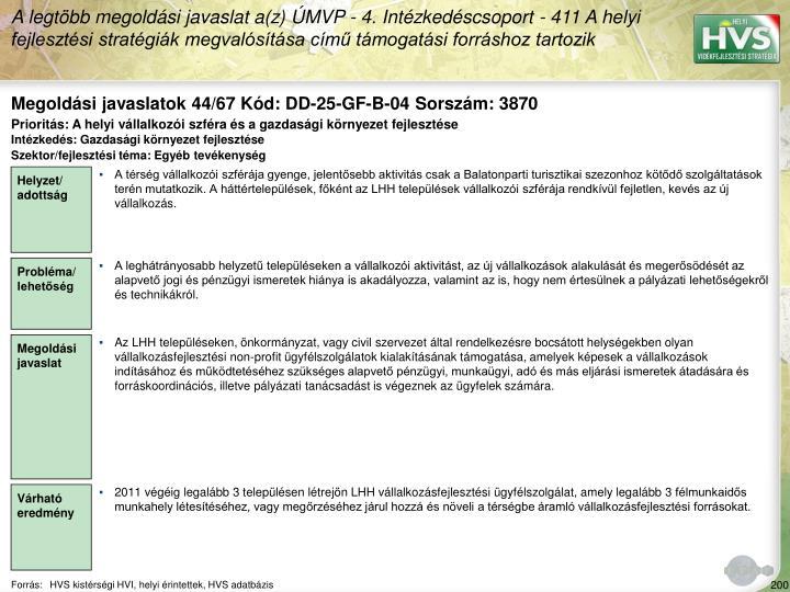 Megoldási javaslatok 44/67 Kód: DD-25-GF-B-04 Sorszám: 3870