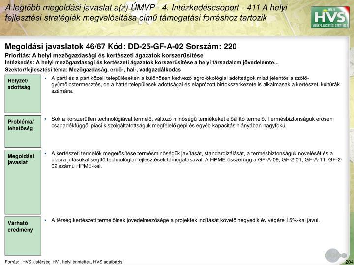 Megoldási javaslatok 46/67 Kód: DD-25-GF-A-02 Sorszám: 220