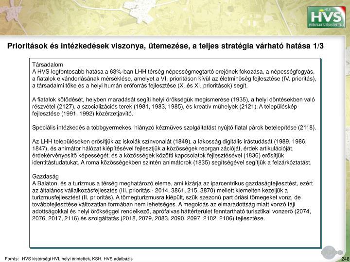 Prioritások és intézkedések viszonya, ütemezése, a teljes stratégia várható hatása 1/3