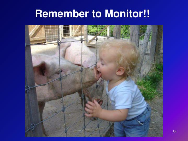 Remember to Monitor!!