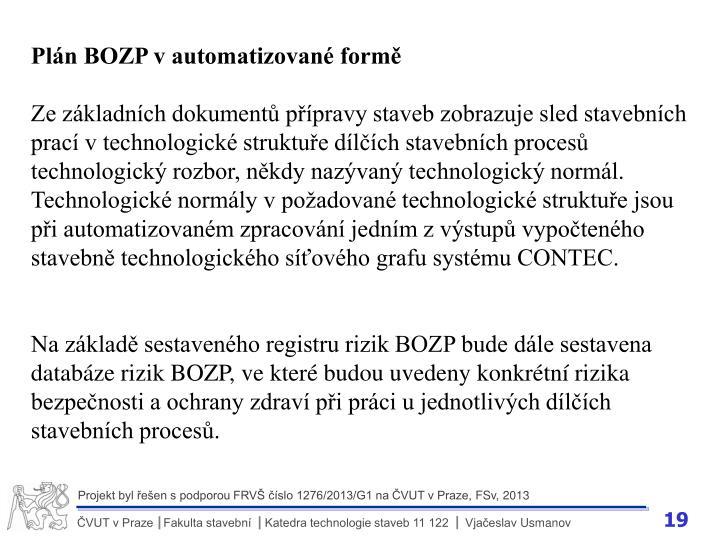Plán BOZP v automatizované formě