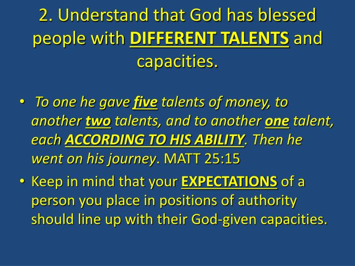 2. Understand that God has blessed people with