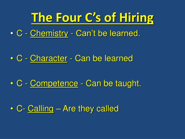 The Four C's of Hiring