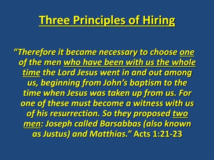 Three Principles of Hiring