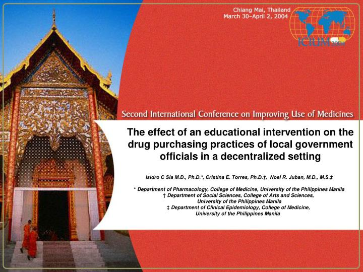 The effect of an educational intervention on the drug purchasing practices of local government officials in a decentralized setting