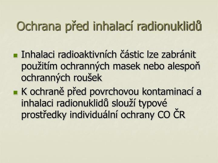 Ochrana před inhalací radionuklidů