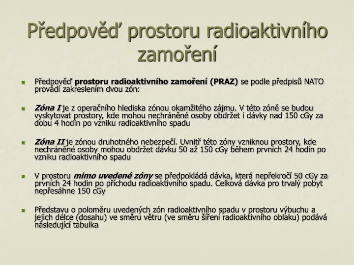 Předpověď prostoru radioaktivního zamoření