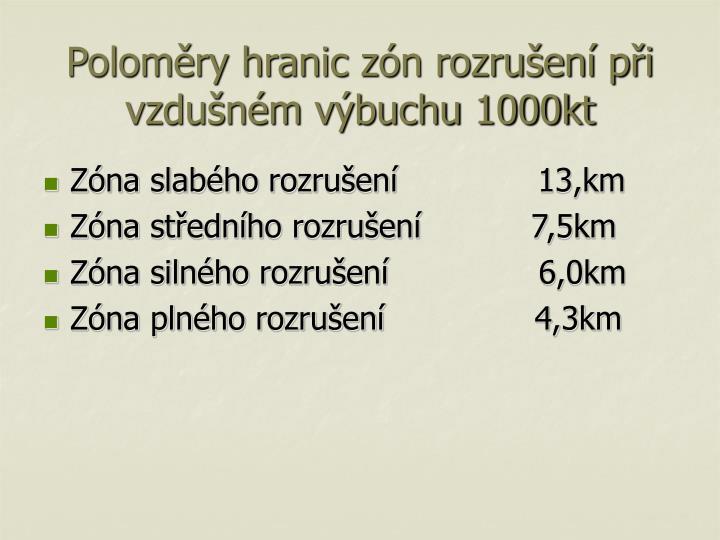Poloměry hranic zón rozrušení při vzdušném výbuchu 1000kt