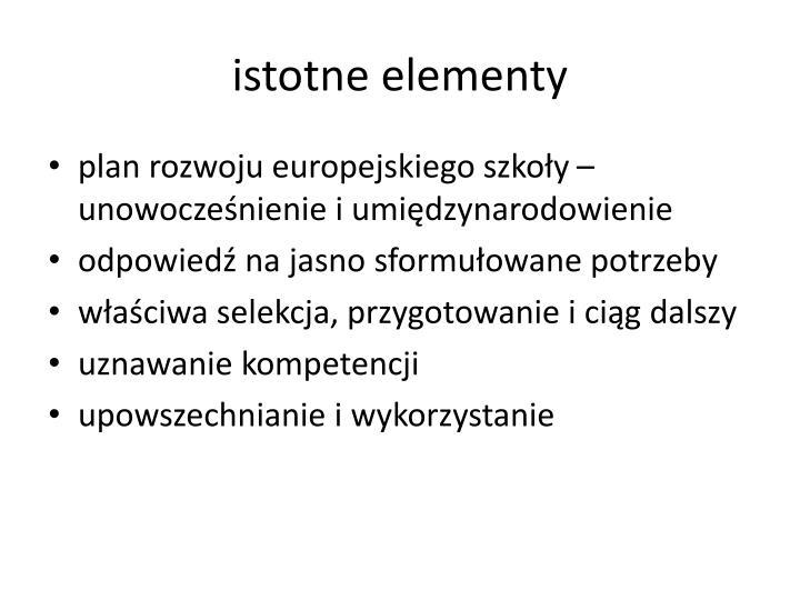 istotne elementy