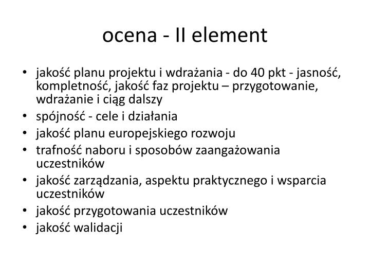 ocena - II element