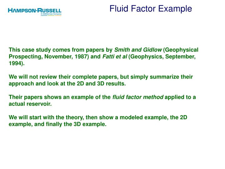 Fluid Factor Example