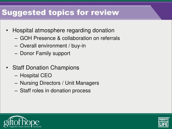 Suggested topics for review