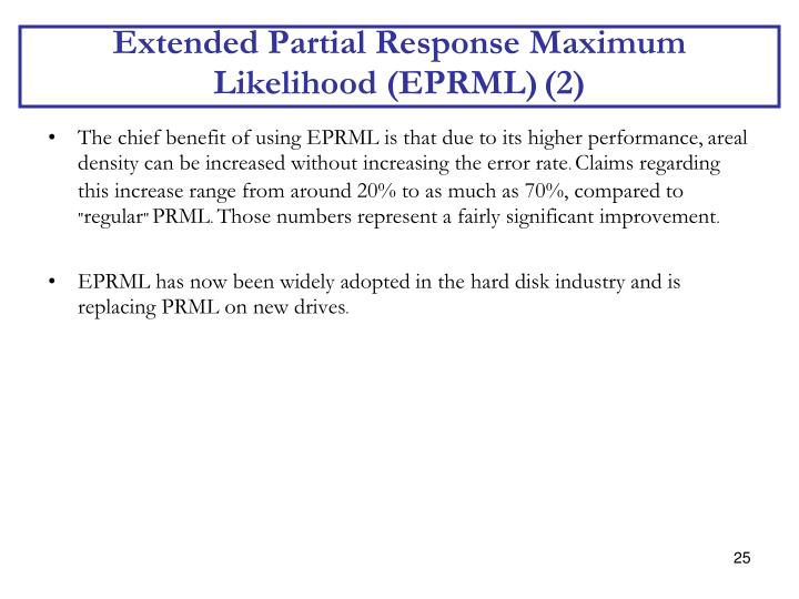 Extended Partial Response Maximum Likelihood (EPRML)