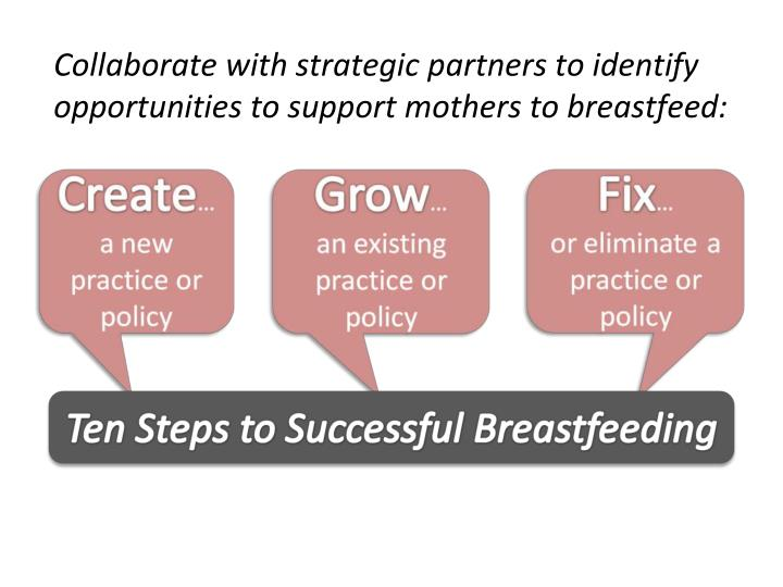 Collaborate with strategic partners to identify opportunities to support mothers to breastfeed: