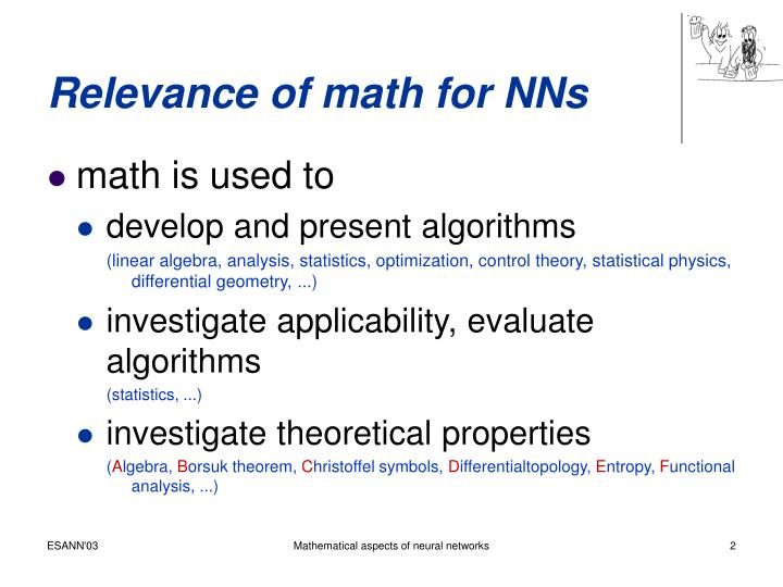 Relevance of math for nns