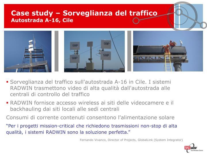 Case study – Sorveglianza del traffico