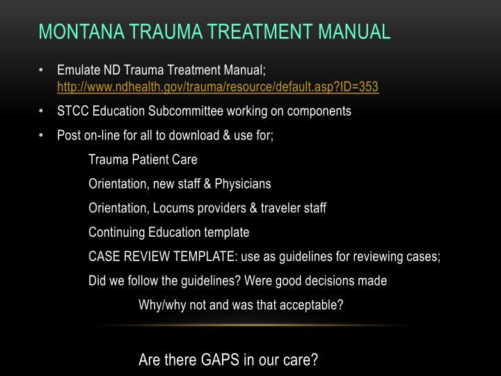 Montana Trauma Treatment Manual