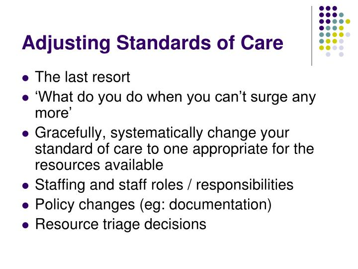 Adjusting Standards of Care
