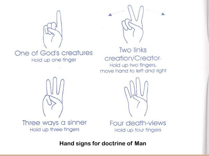 Hand signs for doctrine of Man