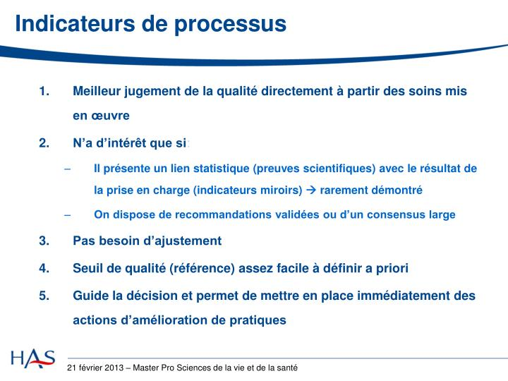 Indicateurs de processus