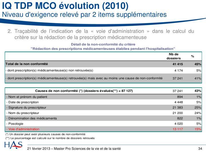 IQ TDPMCO évolution (2010)