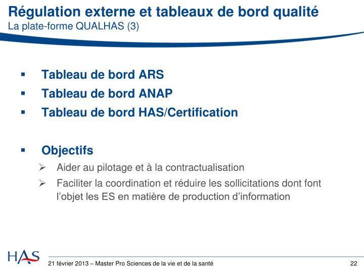 Régulation externe et tableaux de bord qualité