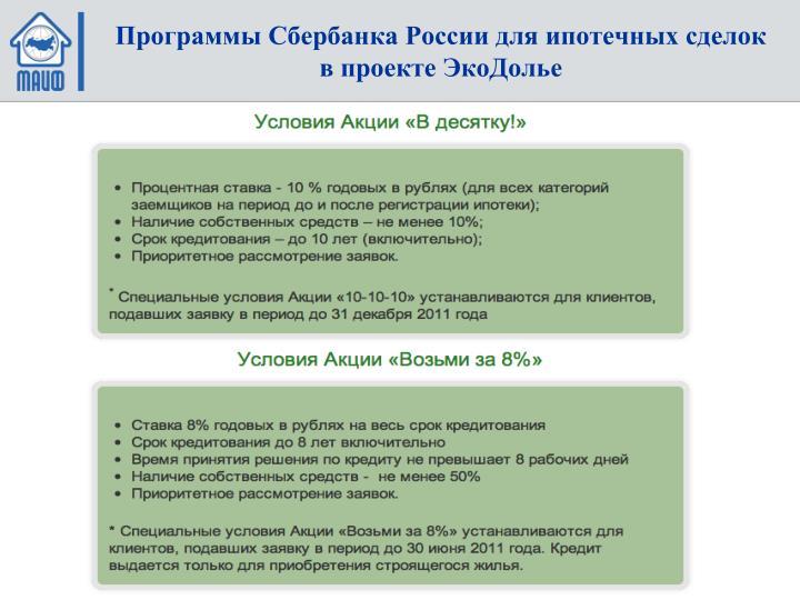 Программы Сбербанка России для ипотечных сделок в проекте ЭкоДолье