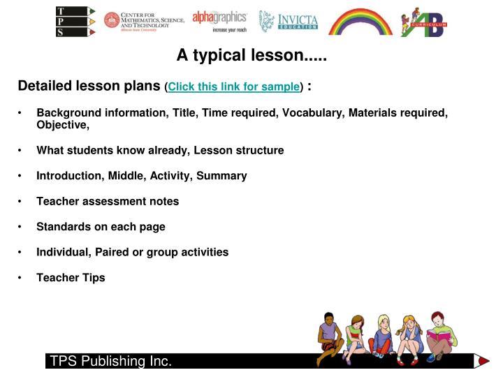 Detailed lesson plans