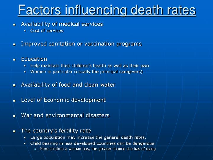 Factors influencing death rates