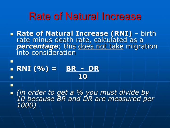 Rate of Natural Increase