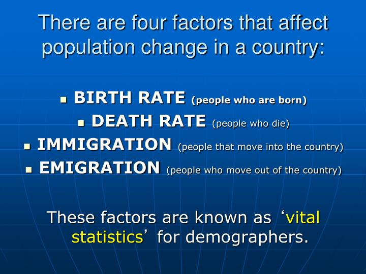 There are four factors that affect population change in a country: