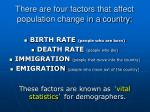 there are four factors that affect population change in a country