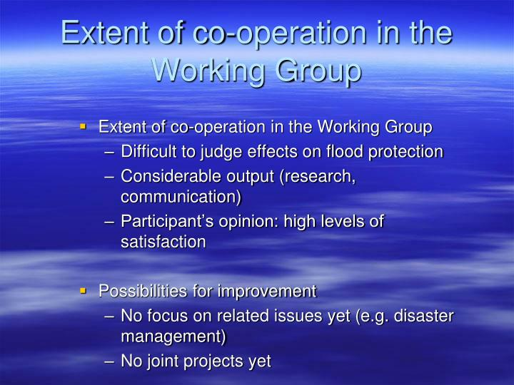 Extent of co-operation in the Working Group