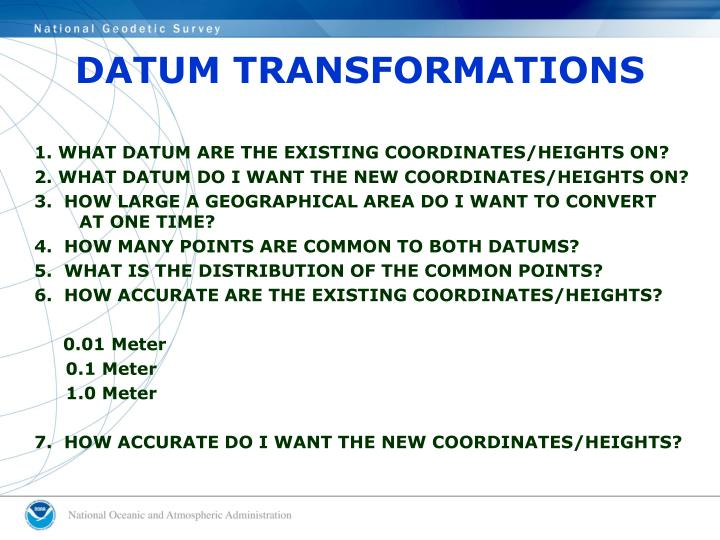 DATUM TRANSFORMATIONS