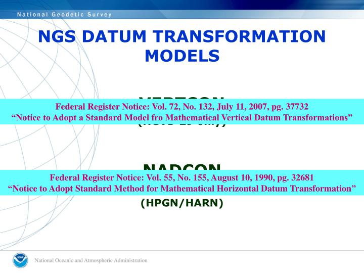 NGS DATUM TRANSFORMATION MODELS
