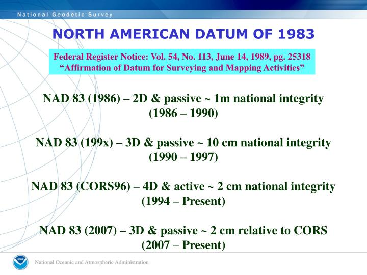 NORTH AMERICAN DATUM OF 1983