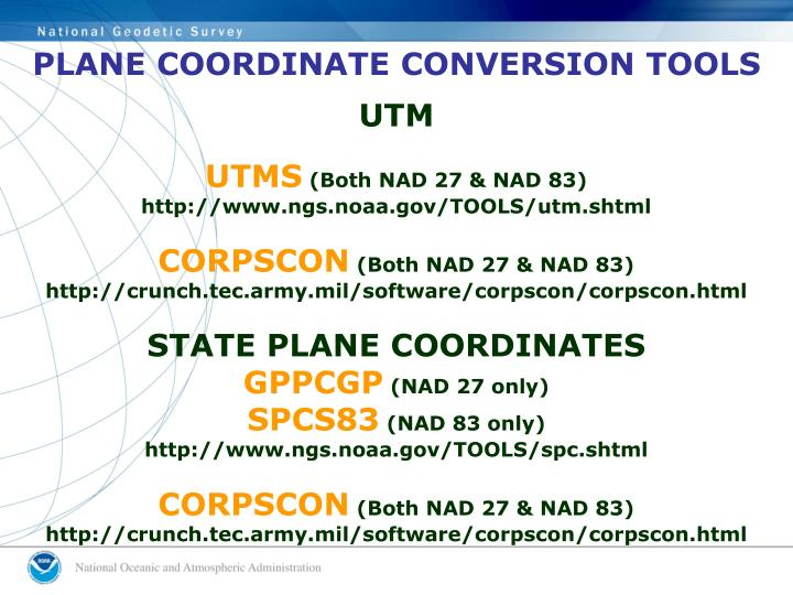 PLANE COORDINATE CONVERSION TOOLS